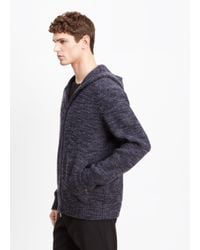 Vince - Blue Zip Front Hooded Sweater for Men - Lyst