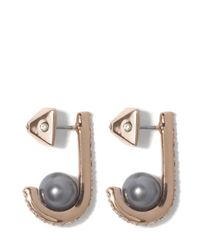 Vince Camuto - Metallic Rose Goldtone Faux Pearl Jeweled Earrings - Lyst