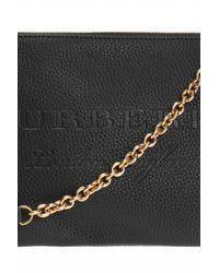 Burberry - Black Logo-embossed Shoulder Bag - Lyst