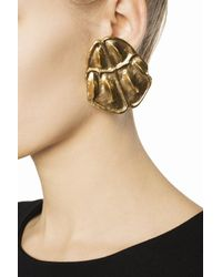 Saint Laurent - Metallic Embossed Clip-on Earrings - Lyst
