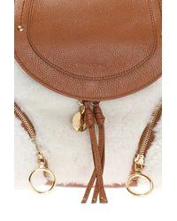 See By Chloé - Brown Sheep Fur-trim Backpack - Lyst