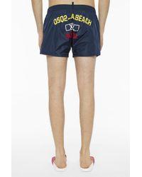 DSquared² - Blue Printed Swim Shorts for Men - Lyst