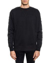 DIESEL - Black Sweatshirt With Decorative Lacing for Men - Lyst