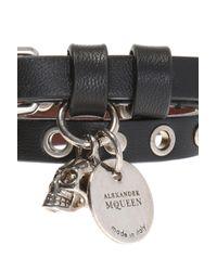 Alexander McQueen - Black Double Bracelet With Charm - Lyst