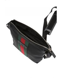 Gucci - Black Techno Canvas Messenger With Web for Men - Lyst