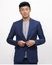 Shades of Grey by Micah Cohen | Shades Of Grey Wool 2 Button Blazer Blue for Men | Lyst