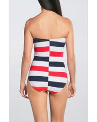 TOGS | Red Stripe Bandeau One Piece | Lyst