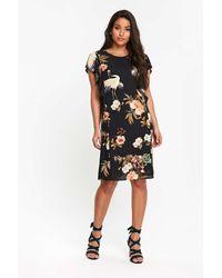 Wallis - Black Oriental And Bird Print Frill Shift Dress - Lyst