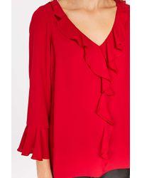 Wallis - Red Ruby Ruffle Top - Lyst