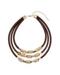 Wallis - Brown Cord Multirow Collar - Lyst