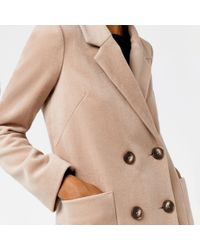 Warehouse | Natural Silk Mix Long Line Crombie | Lyst
