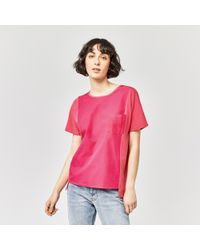 Warehouse - Pink Cotton Front Pocket Tee - Lyst