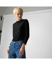 Warehouse - Black Grown On Neck Jersey Top - Lyst