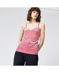 Warehouse | Pink Crushed Velvet Cami | Lyst