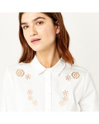 Warehouse - White Cutwork Embroidered Shirt - Lyst