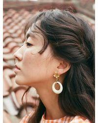 VON DITOLE - White Ivory Hole Retro Flower Vintage Earring - Lyst