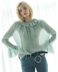 W Concept - Blue [us]peacock Ruffle Blouse Sky - Lyst