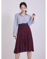 AHEIT Purple Flow Pleated Midi Skirt