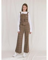 W Concept - Multicolor Pearl Button Wide Pants_brown - Lyst