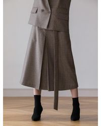 AEER Natural Strap A Line Wool Skirt Beige Check