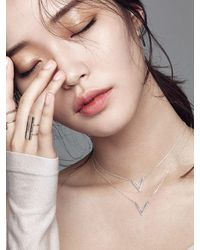 W Concept - Metallic Simple V Necklace Silver - Lyst