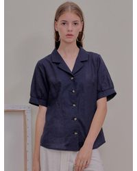 W Concept Blue Dua Blouse Navy