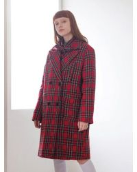 TARGETTO - Four Pocket Check Coat Red Check - Lyst