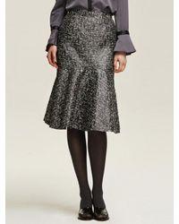W Concept | Black Tweed Mermaid Midi Skirt | Lyst