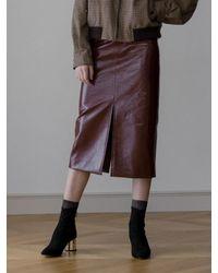 AEER Multicolor H Line Slit Anamel Skirt Burgundy