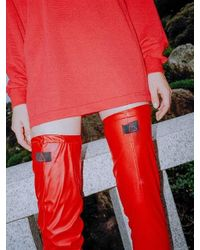 CLUT STUDIO 0 8 Leather Over Knee Socks - Red