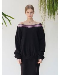 TARGETTO - Off Shoulder Sweat Shirts Black Pink - Lyst