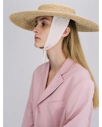 AWESOME NEEDS - Multicolor Raffia Straw Boater Hat Cotton Ribbon - Lyst