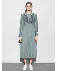 OUAHSOMMET - Green Embroidery Silk Dress_gr - Lyst