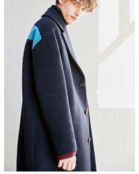 BONNIE&BLANCHE - Blue Contrast Single Long Coat Navy for Men - Lyst