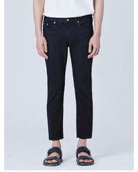 VOIEBIT - Blue V106 Double Cutting Crop Jeans_black for Men - Lyst