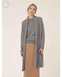 LE CASHMERE - Gray Coat Cardigan - Lyst