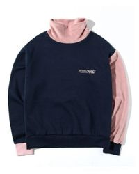 W Concept - Blue High Neck Bl Sweatshirt Navy - Lyst