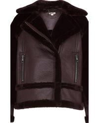 Whistles Black Mix Biker Faux Fur Jacket