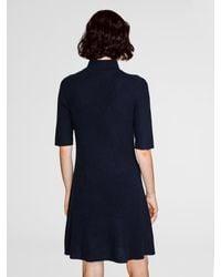 White + Warren - Blue Cashmere Ribbed Swing Dress - Lyst