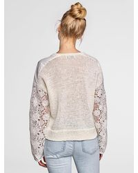 White + Warren - White Waxed Tape Floral Lace Sleeve Crewneck - Lyst