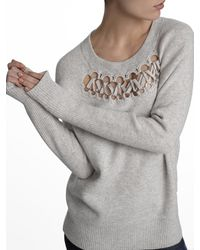 White + Warren - Gray Cashmere Crocheted Ring Crewneck - Lyst