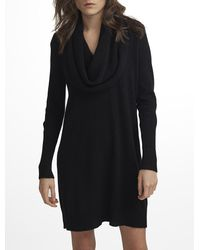 White + Warren - Black Cashmere Funnelneck Dress - Lyst