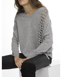 White + Warren | Gray Cashmere Knotted Weave Soft V Neck | Lyst