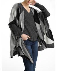 White + Warren - Black Cashmere Fragmented Intarsia Poncho - Lyst