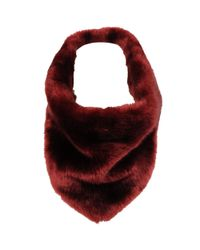 Wilsons Leather - Red Triangle Faux-fur Infinity Scarf W/ Velvet Back - Lyst