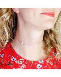 Lee Renee - Metallic Butterfly Choker Necklace Silver - Lyst