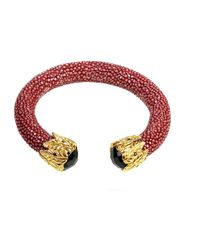 Latelita London - Multicolor Stingray Bangle Garnet Red With Black Onyx - Lyst