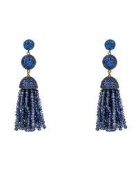 Latelita London | Blue Tassel Ball Earring Iolite Water Sapphire | Lyst