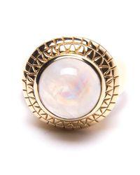 Puck Wanderlust - Metallic Gold Rainbow Moonstone Power Ring - Lyst