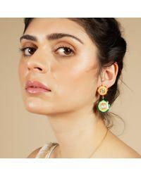 Carousel Jewels - Metallic Orange & Green Floral Enamel Earrings - Lyst